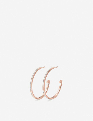 Monica Vinader Skinny 18ct rose-gold plated vermeil silver and diamond large hoop earrings