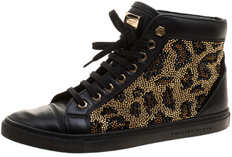Philipp Plein Black Leather Crystal Studded High Top Sneakers Size 38