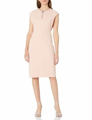 London Times Women's Plus Size Cap Sleeve Midi Scuba Crepe Blouson Dress