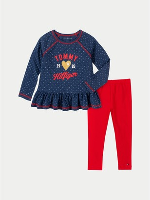 Tommy Hilfiger TH Baby Hearts Blouse and Legging Set