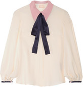 Roksanda Blythe Pussy-bow Satin-trimmed Crepe De Chine Blouse - Ivory