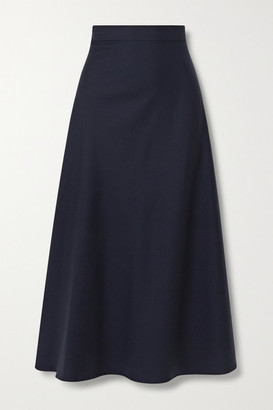 Giuliva Heritage Collection The Ada Herringbone Wool And Silk-blend Midi Skirt - Navy