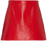 Courreges Patent-Effect Cotton Mini Skirt