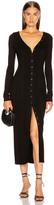 The Range Division Rib Button Front Midi Dress in Black | FWRD