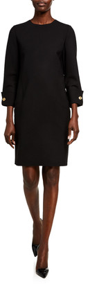 Oscar de la Renta Wool Cocktail Dress Button-Cuff Dress