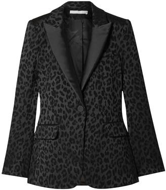Veronica Beard Ashburn Dickey Leopard-print Satin-jacquard Blazer
