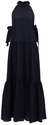 Marysia Swim Molluscs Seersucker-cotton Maxi Dress - Womens - Dark Blue