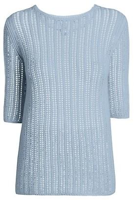Agnona Cashmere & Linen Short-Sleeve Knit Sweater