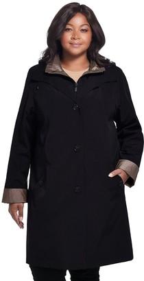 Gallery Plus Size Contrast-Trim Hood Rain Jacket