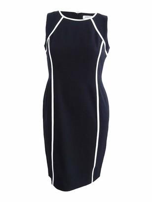 Kasper Women's Petite Stretch Crepe Jewel Neck Dress with Contrast Lining