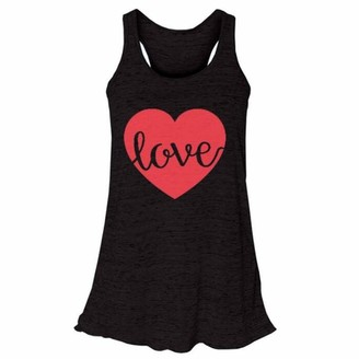 Toamen Women's Vest Toamen Women's Valueweight T-Shirt Vest Sale Summer Sleeveless Printing Yoga Sports Tank Tops Flowy Racerback Blouse (Black 14)