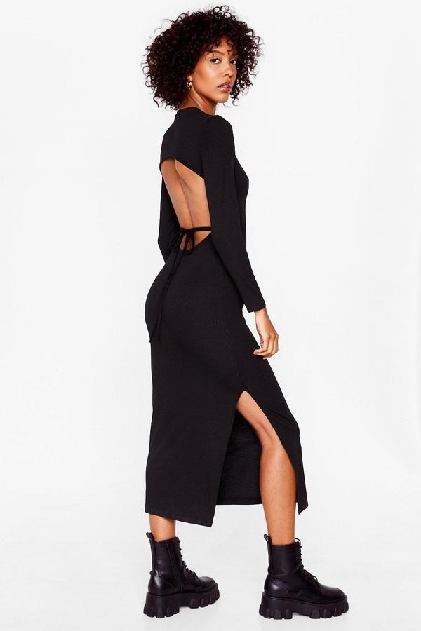Nasty Gal Womens Long Sleeve Backless Tie Midi Dress - Black - 8