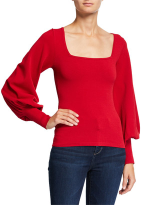 Autumn Cashmere Bishop-Sleeve Square-Neck Sweater