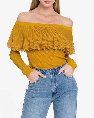 Express English Factory Off The Shoulder Lace Ruffle Top