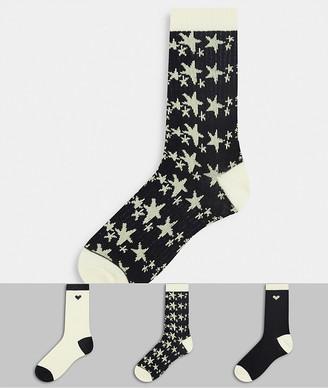Wednesday's Girl 3 pack socks in plain and star print