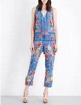 Roberto Cavalli Floral-print silk-crepe jumpsuit