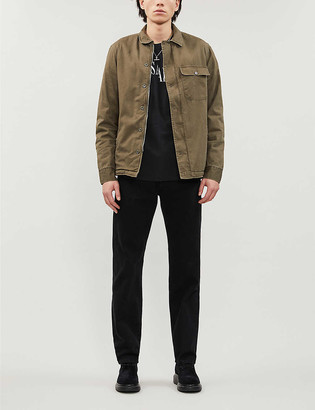 AllSaints Spread collar cotton-twill and faux-fur jacket