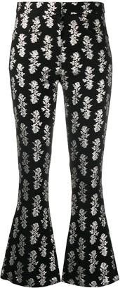 16Arlington Metallic-Print Flared Trousers