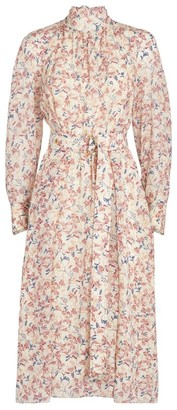 Chloé Silk Floral Print Midi Dress