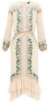 Saloni Isa Embellished Silk-georgette Midi Dress - Womens - Cream Multi