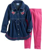 Nannette Baby Girl Embroidered Denim Tunic & Leggings Set
