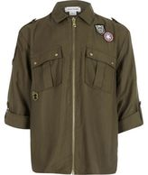 River Island Khaki badge zip front shirt