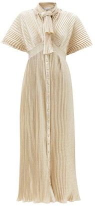 Paco Rabanne Tie-front Metallic-plisse Dress - Gold