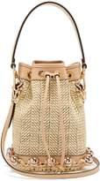 Fendi My Treasure leather-trimmed raffia bucket bag