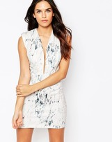Rare Plunge Neck Bodycon Dress in Marble Print