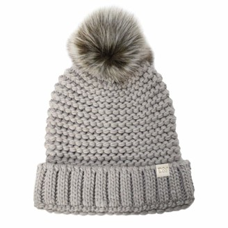 D&Y Women's David & Young Purl Knit Beanie with pom