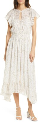 Rebecca Taylor Zadie Floral Metallic Fil Coupe Chiffon Dress