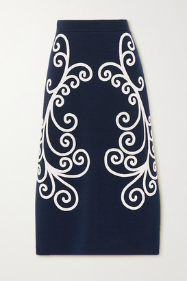 Prada Bead-embellished Wool Midi Skirt - Navy