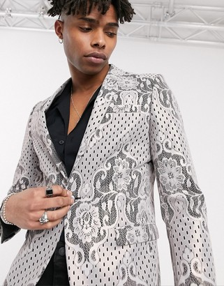 Twisted Tailor blazer with lace print in champagne