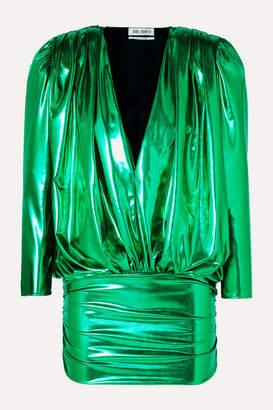 ATTICO Draped Stretch-lamé Mini Dress - Green