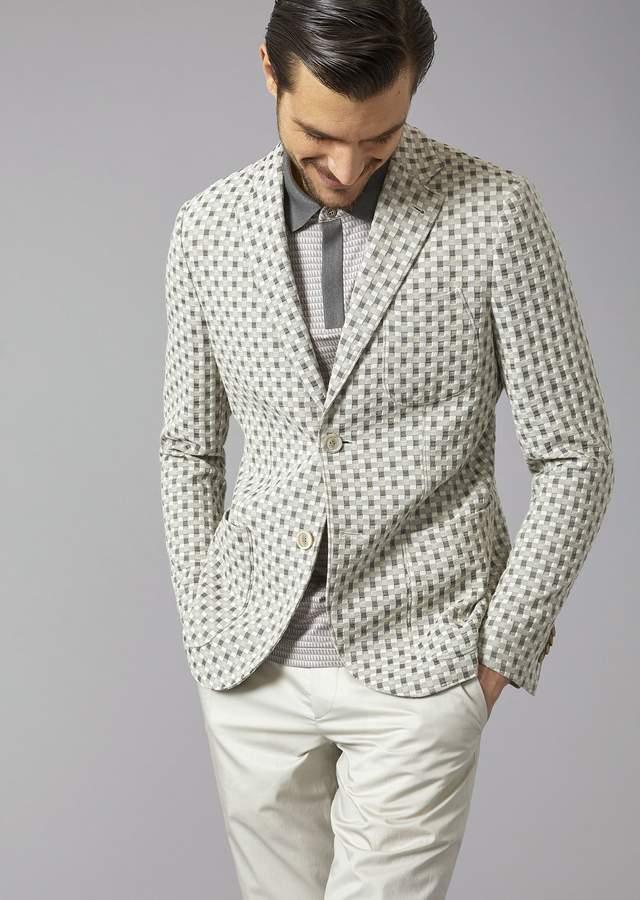 Giorgio Armani Tokyo Jacket In Jacquard Fabric