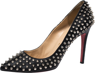 Christian Louboutin Black Leather Pigalle Spikes Pumps Size 39.5