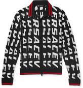 Versace - Stripe-Trimmed Logo-Jacquard Wool Zip-Up Cardigan