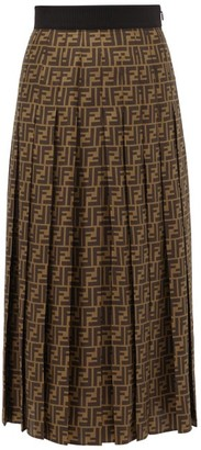 Fendi Pleated Ff-print Silk-satin Midi Skirt - Womens - Brown Print