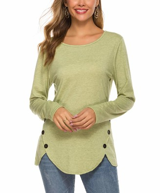 Ritera Womens Long Sleeve T Shirt Casual Side Buttons Crew Neck Elbow Patched Sweatshirt Loose T Shirt Blouses Tunic Tops Green