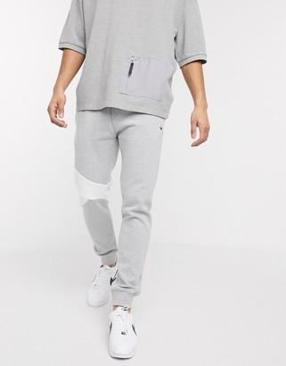 Topman cut and sew joggers in grey marl
