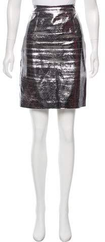 Milly Embossed Leather Skirt
