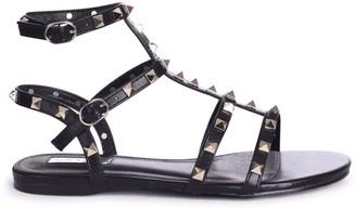 Linzi VIOLET - Black All Over Studded Gladiator Sandal