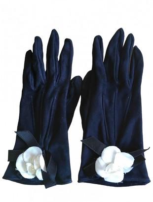 Chanel Navy Suede Gloves