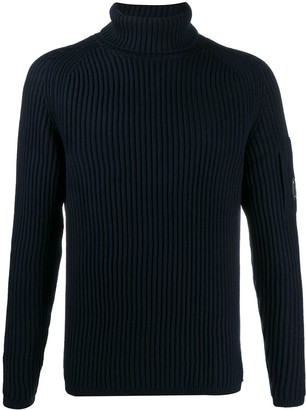 C.P. Company Logo-Patch Ribbed Sweater