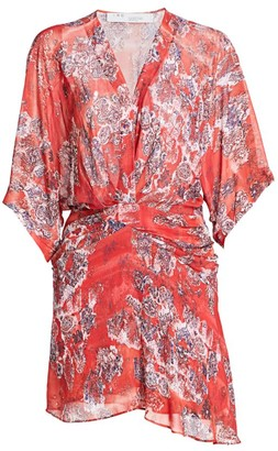 IRO Gazania Plunging Tapestry Print Mini Dress