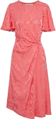 Prabal Gurung Button-detailed Gathered Satin-jacquard Dress