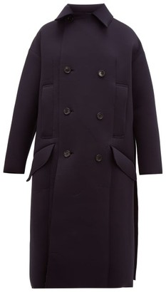 Toga Double-breasted Neoprene Coat - Womens - Navy