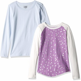 LOOK by crewcuts Boys' 2-Pack Graphic/Solid Long Sleeve T-Shirt Purple Star/Blue X-Small (4/5)