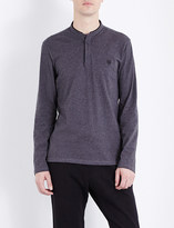 The Kooples Stand-collar cotton-jersey polo shirt
