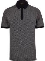 River Island MensNavy jacquard polo shirt